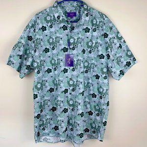 NWT Men's green floral-print dress shirt size XXL